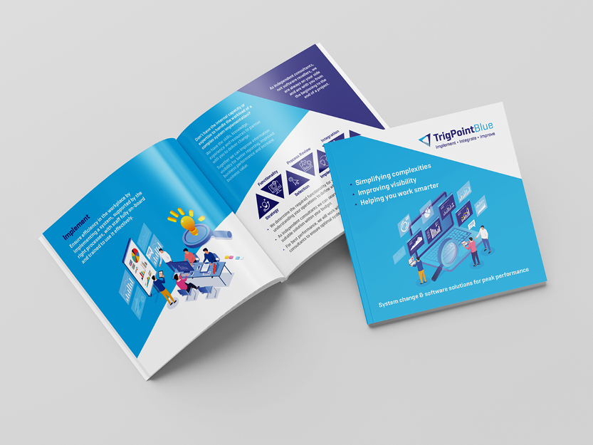 Printed materials designed for a software engineering company