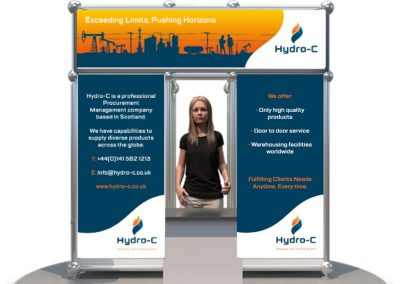 A branded digital banner stand for an online exhibition