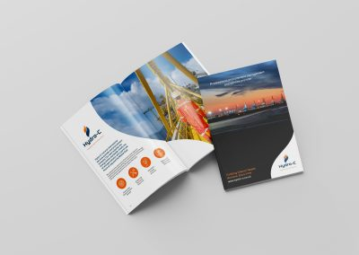 Glossy promotional brochure produced for a procurement business