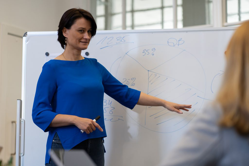 Female CEO at a whiteboard showing a digital technology project plan to a team