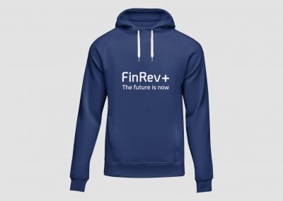 Blue hooded top with FinRev Plus logo on the front